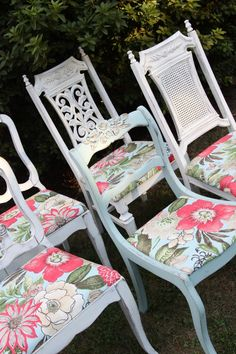 Pul together mismatched chairs with vintage fabric