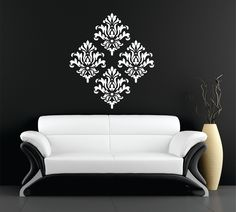 Set of 4 damask vinyl wall art decal stickers by littlesignshop