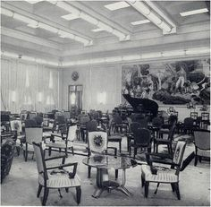 The First Class lounge of the Major Oceans, Ss Normandie, Ways To Travel, Cruise, Castle, History, High Windows, Hunting Party, Art Deco