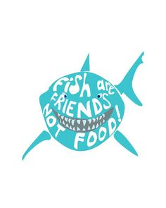 fish are friends not food, disney. tote bag by studiomarshallgifts on Etsy Finding Nemo Poster, Finding Nemo Quotes, Finding Dory, Disney Art, Disney Movies, Disney Pixar, Disney Canvas, Disney Fonts, Motto