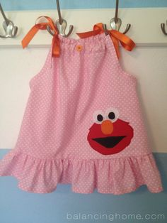 Elmo Birthday Party -- Check it out, @Nicole Peiffer!  Love this little dress, but there are lots of other cute ideas!
