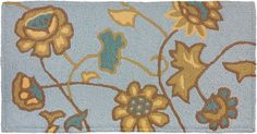 Jacobean Flower Spa Blue Jelly Bean Rug With Memory Foam Floral Rug, Floral Design, Blue Jelly Beans, Jellybean Rugs, Novelty Rugs, Area Rug Runners, Jacobean, Indoor Rugs, Accent Rugs