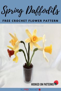 Celebrate spring with these vibrant crochet Spring Daffodils that will easily brighten up any room in the house! This is a great project for anyone who loves flowers or gardening. Crochet Flower Tutorial, Crochet Flower Patterns, Crochet Flowers, Butterfly Flowers, Love Flowers, Butterflies, Crotchet, Knit Crochet, All Free Crochet