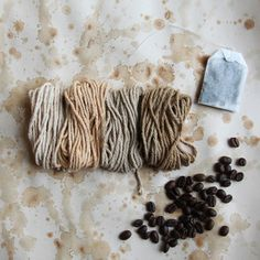 Natural Dyeing With Coffee And Tea. Dye vintage textiles like tea towels or handkerchiefs a pretty new shade. Shibori, Natural Dye Fabric, Natural Dyeing, Art Du Fil, Do It Yourself Inspiration, Fibres, How To Dye Fabric, Dyeing Fabric, Fabric Painting