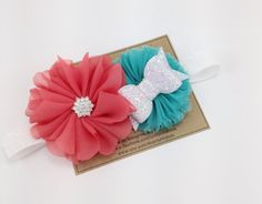 Coral Headband Aqua Shabby Flower and Chiffon by turniptots