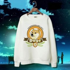 Doge long sleeve sweatshirt 3D dog white funny pullover for men