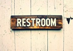 Hand Painted RESTROOM Sign on Salvaged Pine by SimonSaysSigns, $46.00