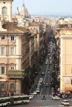 Via del Corso, the main street running through the historical centre of Rome.