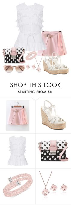 """White wedges"" by snowflakeunique ❤ liked on Polyvore featuring Yves Saint Laurent, Alaïa, RED Valentino, Swarovski and Gucci"