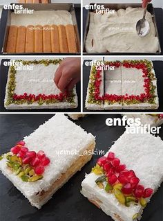 Kar Yağdı Pastası Tarifi No Bake Desserts, Delicious Desserts, Yummy Food, Tasty, Kitchen Recipes, Cooking Recipes, Sweet Recipes, Cake Recipes, Sweet Tarts