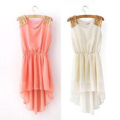 Chiffon Casual Paillette Shoulder Slim Mini Vest Dress #Fashion #dress #Casual
