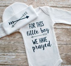 Baby Boy Coming Home Outfit - For This Little Boy We Have Prayed Bodysuit
