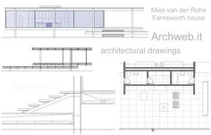 2D : Farnsworth House : Mies van der Rohe | ArchWeb Farnsworth House Plan, Casa Farnsworth, Harvard Architecture, Architecture Plan, Ludwig Mies Van Der Rohe, House On Stilts, Building Images, Weekend House, Glass House