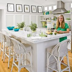Swap out your breakfast table for barstools; they make great use of counter space. | Coastalliving.com