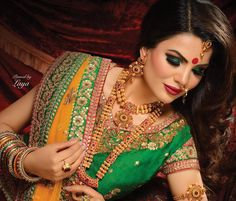 New And Unique Shade In Green Is Here With This Designer Olive Green Colored Saree Paired With Olive Green Colored Blouse. This Saree And Blouse Are Fancy Silk Fabricated Beautified With Heavy Embroidered Lace Border. Indian Bridal Makeup, Indian Bridal Outfits, Indian Bridal Wear, Asian Bridal, Bridal Hair And Makeup, Indian Ethnic Wear, Bridal Mehndi, Bridal Beauty, Net Lehenga
