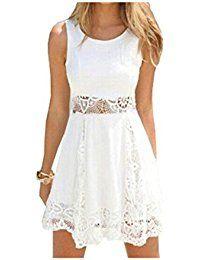 Qissy® Damen Sommerkleid Strandkleid Rundhals Ausschnitt ärmellos Chiffon  Spitze Stitching eng Taille Rock Frauen Partykleid b3eac6772d