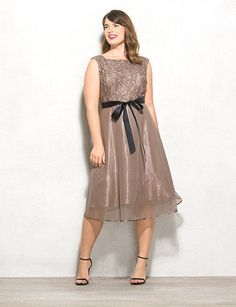 Plus Size Lace Belted Dress