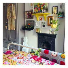 #bedroom #bedroomlove #bedroomdecor #cactusgarden #hangingplants #crochet #crochetblanket #englishyellow