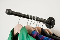 Faceout Clothing Rack II Faceout (set of is part of Black Clothes Rack - Wall Mounted Rack Hang Anything Perfect for Retail Display The rack sits approximately inches … Clothes Rail, Clothes Hanger, Diy Clothes, Clothes Storage, Garage Storage, Hangers, Pipe Clothes Rack, Hanging Clothes, Diy Garage
