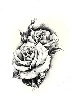 Want the pearls on my tattoo like this not too much on the bigger - 10 Rose Illustrations Grandmothers Drawing Flowers And