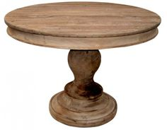 Furniture. Natural Wood Color Round Table Ideas Come With Circle Wooden Top Table With King Leg Sandpaper Look Finish.