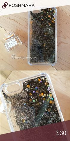 Black Liquid Glitter iPhone 6, 6+ Case So pretty! Black liquid glitter with stars. Fits 6/6plus, 7/7plus. No trades. Indicate the size you want when you purchase. Uppity Minx Accessories Phone Cases