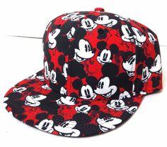 New MICKEY MOUSE PATTERN SNAPBACK HAT Red/Black/White Flat-Bill Men/Women/Teen #Disney #BaseballCap