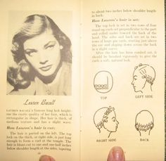 LAuren Bacall hair set tutorial.  I've been setting my hair in pin curls for the last four nights.  I get on stuck on doing different styles and methods over and over until i...