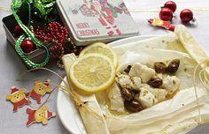 Bocconcini di pesce al cartoccio con limone e olive