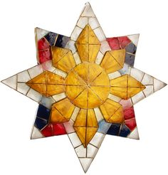 I like the Filipino sun in the center, and the simplicity of this Parol Christmas Parol, Christmas Time, Christmas Ideas, Parol Diy, Parol Filipino, Festival Decorations, Christmas Decorations, Stained Glass Paint, Star Lanterns