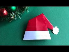Origami for christmas: How to make a Santa Claus hat with paper – Christmas crafts - Weihnachten Dekoration Origami Hat, Paper Crafts Origami, Origami Flowers, Paper Flowers Diy, Christmas Origami, Diy Christmas Gifts, Christmas Art, Origami Santa Claus, Origami Youtube