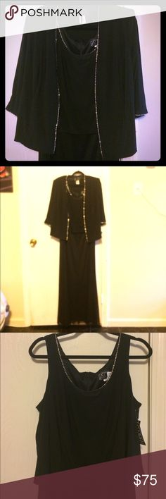 Evening gown with jacket and rhinestone detail Black evening gown with matching jacket. Rhinestone detail on front of jacket, jacket sleeves and neckline of dress. Shoulder pads on jacket can easily be removed Alex Evenings Dresses