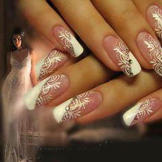 Nail art mariage by. Nail Art Designs, Elegant Nail Designs, Elegant Nails, Beautiful Nail Designs, Wedding Day Nails, Wedding Nails Design, Wedding Manicure, French Nails, Hot Nails