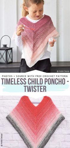 Crochet Ponchos for Kids Free Patterns - Free Crochet Patterns Timeless Child Poncho - Twister Free Crochet Pattern Crochet Baby Poncho, Crochet Toddler, Knitted Poncho, Crochet For Kids, Free Crochet, Children's Poncho, Knitted Shawls, Crochet Shawl, Kids Poncho Pattern