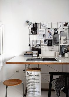 Scandinavian home office. Le Sac en Papier paper bag. from Stilinspiration