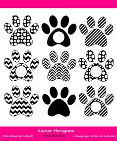 Paw Print Monogram Svg (Graphic) by CosmosFineArt · Creative Fabrica Tattoo Calf, Animal Line Drawings, Pet Sitting Business, Video Rosa, Cricut Craft Room, Mandalas Drawing, Vinyl Cutter, Dog Paws, Scrapbook Paper Crafts