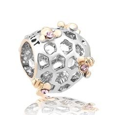 New Sweet Honey Golden Queen Bee Filigree Charms Pink Crystal Sale Cheap Jewelry Beads Fit Pandora Bracelets – Friendly Faces