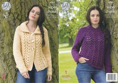 Ladies Super Chunky Knitting Pattern King Cole Lace Effect Cardigan Sweater 4361