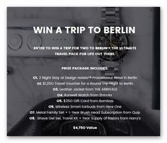 Escape the Heat, Out There - Win a trip for two to Berlin – Ends July 31st #sweepstakes https://www.goldengoosegiveaways.com/escape-heat-win-trip-two-berlin-ends-july-31st?utm_content=buffer05f78&utm_medium=social&utm_source=pinterest.com&utm_campaign=buffer