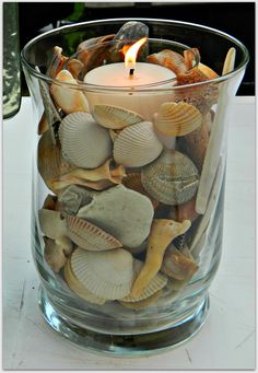 Crafts with shells - 42 inspiring ideas for creative Basteln mit Muscheln- 42 inspirierende Ideen für kreative Köpfe tinker with shells lanterns tinker candle - Seashell Art, Seashell Crafts, Beach Crafts, Diy And Crafts, Crafts With Seashells, Seashell Decorations, Seashell Bathroom, Beach House Decor, Diy Home Decor