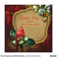 Tree Ornament and Red Cardinal Christmas Party 5.25x5.25 Square Paper Invitation Card