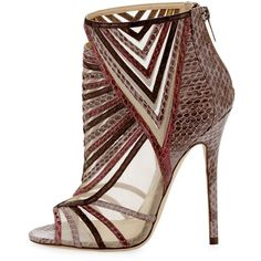 """There are no other words but WOW: Jimmy Choo """"Kara"""" Peep-Toe Snake Ankle Bootie available at Bergdorfs. Short Heel Boots, Peep Toe Ankle Boots, Peep Toe Shoes, Heeled Boots, Shoe Boots, Shoes Heels, Unique Shoes, Cute Shoes, Me Too Shoes"""