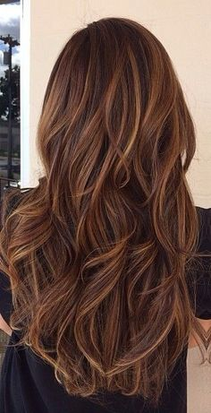 Brunette hair color #long hair #caramel highlights