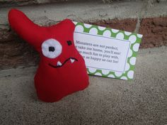 Collectible Mini Monster: Red Mini Monster, Take Me Home, Monsters, Dinosaur Stuffed Animal, Mint, Play, Toys, Happy, Red