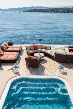 LUCKY LADY is an impeccably decorated yacht built for long range cruising and luxury. The upper deck is Owners private s Luxury Yacht Interior, Luxury Homes, Private Jet Interior, Beautiful Places To Travel, Travel Aesthetic, Adventure Aesthetic, Dream Vacations, Swimming Pools, Lap Pools