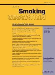 Journal of Smoking Cessation - http://journals.cambridge.org/jsc