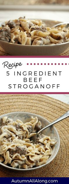 An easy to make 5 ingredient beef stroganoff recipe that keeps you from spending. - An easy to make 5 ingredient beef stroganoff recipe that keeps you from spending… An easy to ma - Crock Pot Stroganoff, Recipe For Beef Stroganoff, Easy Ground Beef Stroganoff, Mushroom Stroganoff, Beef Stroganoff Recipe Without Sour Cream, Beef Stroganoff Ingredients, Hamburger Beef Stroganoff, Healthy Beef Stroganoff, Meatball Stroganoff