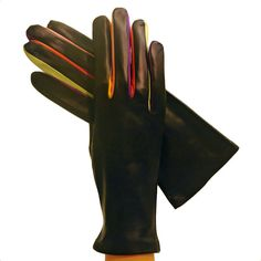 Multi-colored Unique Arlecchino Womens Cashmere-lined Leather Gloves