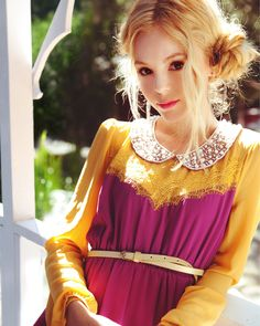 Pearl Collar Belted Dress