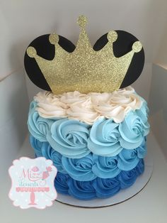 Royal Mickey Mouse Smash Cake By:MizzDesserts